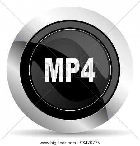 mp4 icon, black chrome button