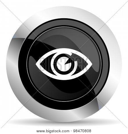 eye icon, black chrome button, view sign