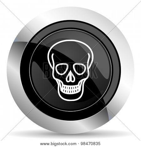 skull icon, black chrome button, death sign