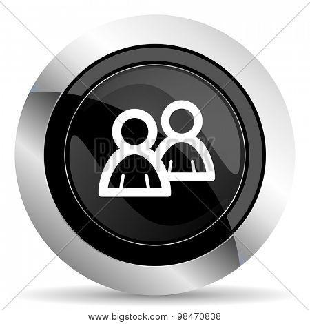 forum icon, black chrome button, people sign
