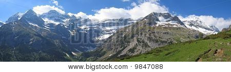 Very Large Panoramic View Of The Gavarnie Circus Mountains With Forest In The Foreground, The Pyrene