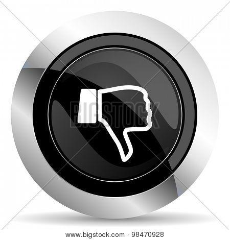 dislike icon, black chrome button, thumb down sign