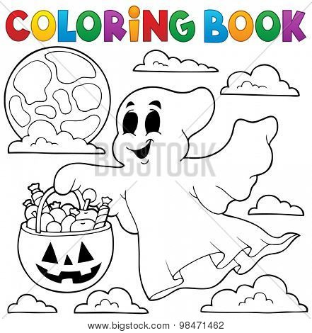 Coloring book ghost theme 3 - eps10 vector illustration.