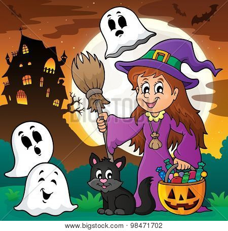 Cute witch and cat with ghosts 1 - eps10 vector illustration.