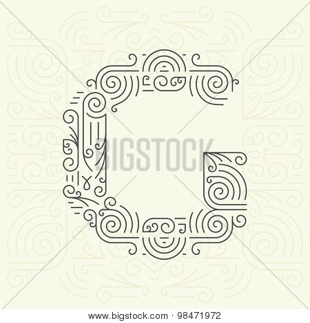 Vector Mono Line style Geometric Font Your for Text, Slogan, Template or Advertising. Golden Monogram Design element for Labels and Badges. Letter G