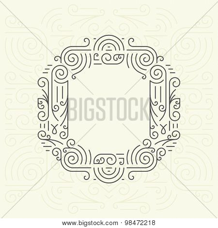 Vector Mono Line style Geometric Font Your for Text, Slogan, Template or Advertising. Golden Monogram Design element for Labels and Badges. Letter O