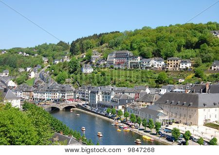 The Village And The River With Tourist Making Pedalo, Bouillon City, Belgium, Wallonia