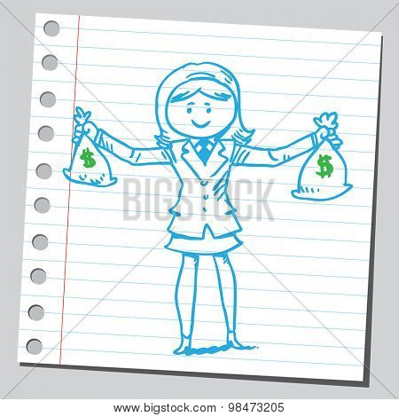 Businesswoman holding two money bags