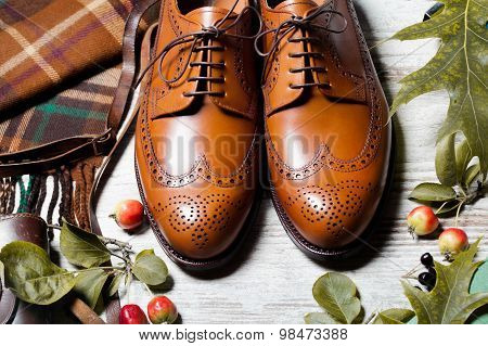 Featuring Typical Male Clothing and Accessories fashionable male brogue shoes in autumn