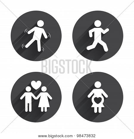 Women pregnancy icon. Human running symbol.