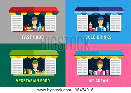 Fast food restaurants vector objects. Water bottle, juice, eat and ice cream, hamburger, hot dogs or