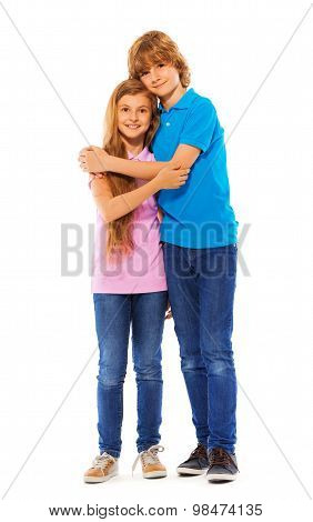 Two siblings boy and girl on white portrait