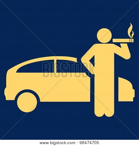 Smoking Taxi Driver Flat Icon From Business Bicolor Set