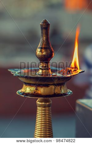 Puja Lamp In Hindu Temple