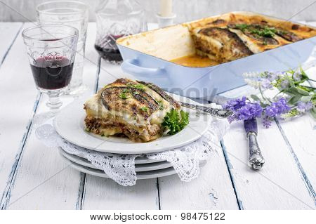 greek moussaka with ground meat