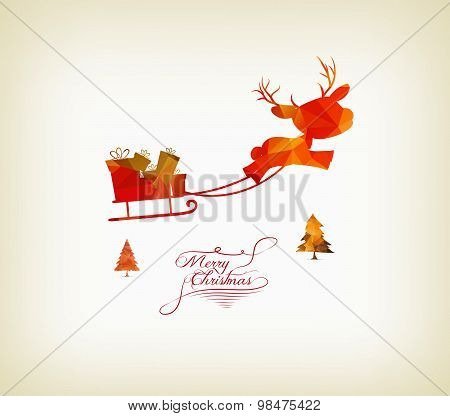 reindeer sleigh flying over forest in abstract colorful geometric composition- polygonal style