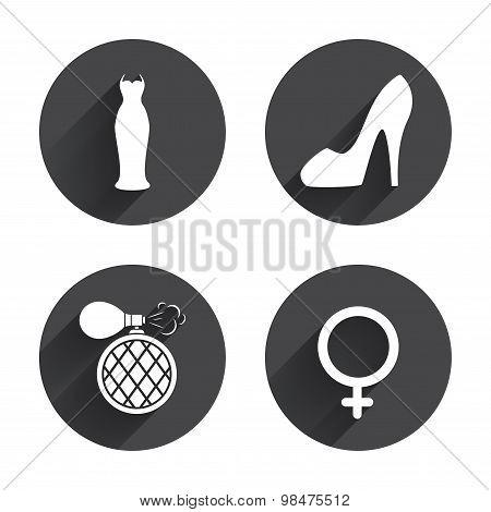 Wedding dress icon. Women shoe sign. Perfume.