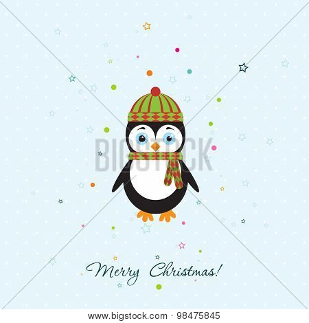 Template Christmas greeting card with a penguin, vector illustration