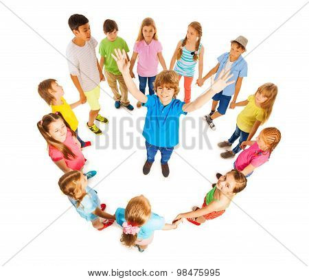Caucasian boy in circle of friends
