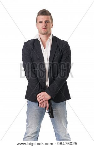 Elegant man with gun, dressed as a spy or secret
