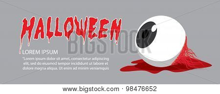 Banner Of Eyeball On The Floor On Halloween In Order To Makes The Horror And Scary Flat Vector.