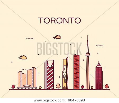 Toronto skyline trendy vector illustration linear
