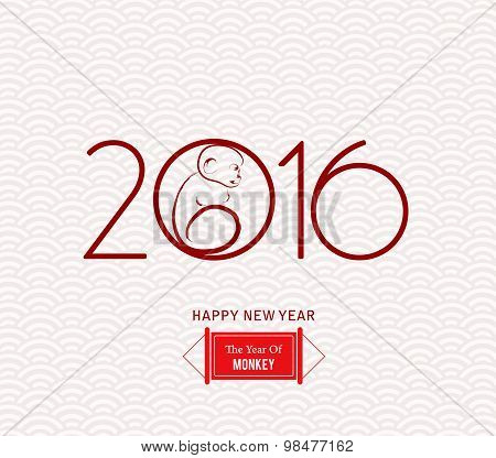 Red Monkey clinging to a circle. Vector element for New Years design