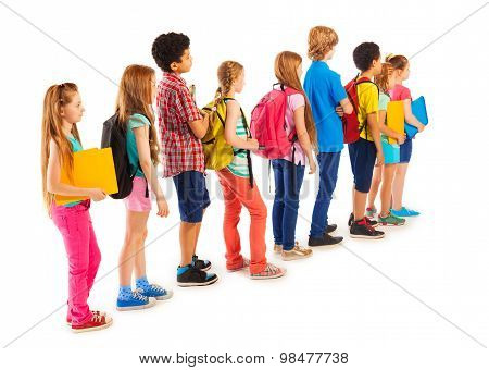 Group of boys and girls standing in the line