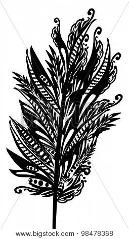 illustration with abstract decorated black feather isolated on white background