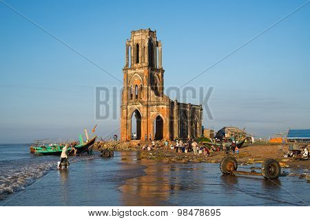The fallen church (nha tho do) in sunrise in Hai Ly, Nam Dinh, Vietnam