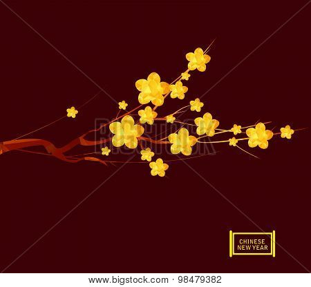 Chinese New Year 2016, Japanese golden geometrical plum blossom