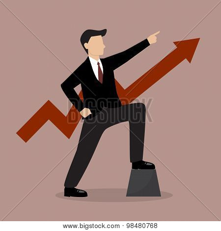 Businessman With Graph Up