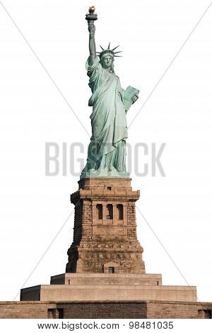 Statue of Liberty on Island in New York on white