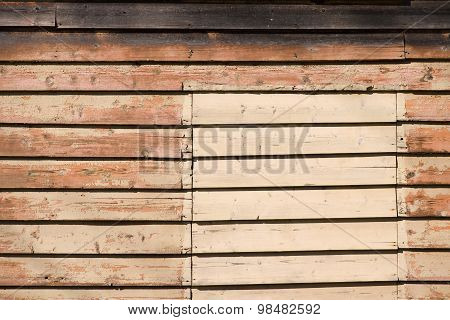 Vintage patched wooden wall