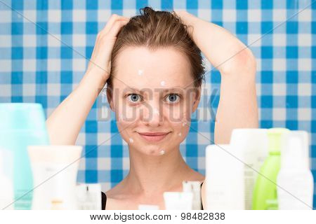 Young Girl With Wet Hairs Is Posing In The Bathroom