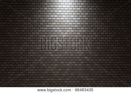 Modern Brown Bricks Wall Pattern With Light Spot, Background
