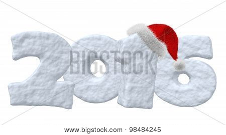 New Year 2016 Sign Made Of Snow With Santa Hat