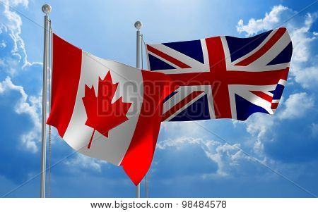 Canada and United Kingdom flags flying together for diplomatic talks