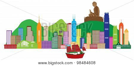 Hong Kong Skyline And Buddha Statue Color Vector Illustration