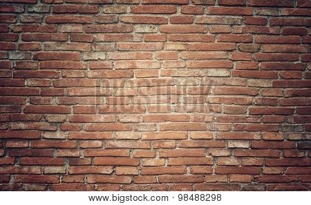 Grunge Brick Wall Texture Background With Vintage And Vignette Tone