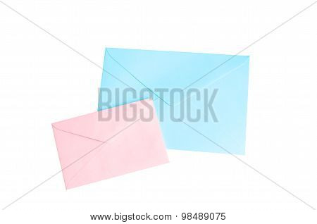 Pink And Blue Envelope Isolate On White With Clipping Path