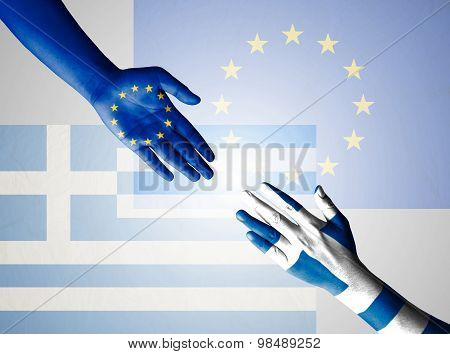 Flag Of European Union And Greece Painted On Hand