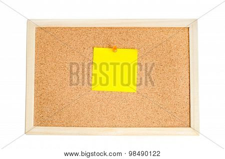 Blank Colorful Notes Pinned On Cork Wood Notice Board Isolate On White With Clipping Path