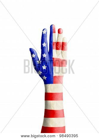 Hand Of Young Man Raised With United States Of America Flag Patterned
