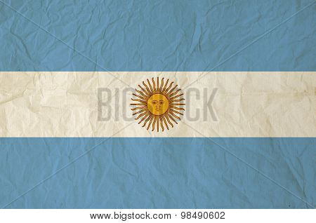 Flag Of The Argentina With Vintage Old Paper