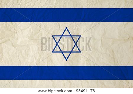 Flag Of Israel With Vintage Old Paper Texture