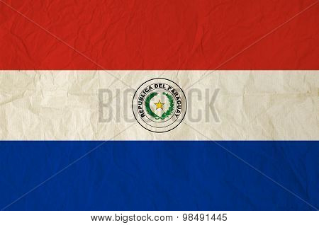 Flag Of The Paraguay With Vintage Old Paper