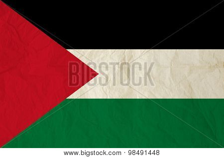 Flag Of Palestine With Vintage Old Paper Texture