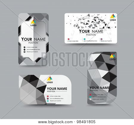 Monochrome Business Card, Flyer Design Template. Vector Illustration