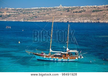 Ship At Comino Island, Malta